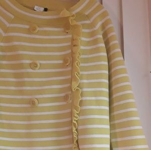 J.Crew Yellow White Striped Ruffle Button Sweater